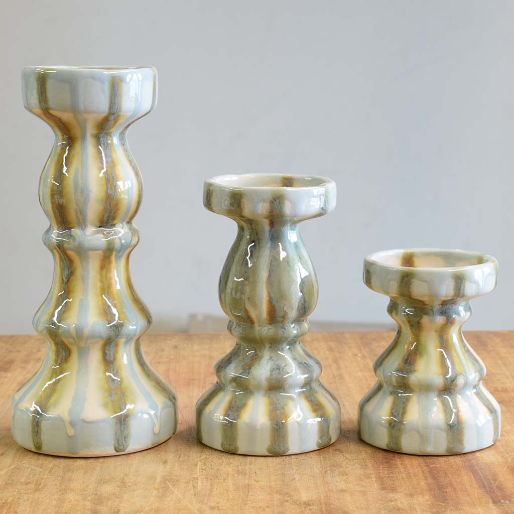 Teal Candlesticks - TheMississippiGiftCompany.com