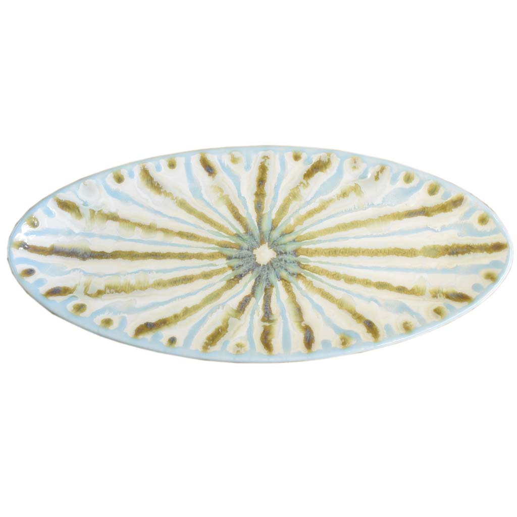 Teal Oval Bread Tray - TheMississippiGiftCompany.com