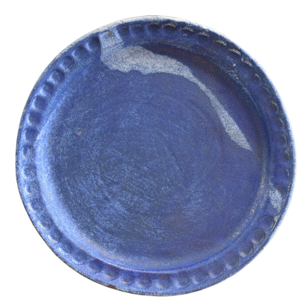 Blue Round Thumbprint Platter - TheMississippiGiftCompany.com