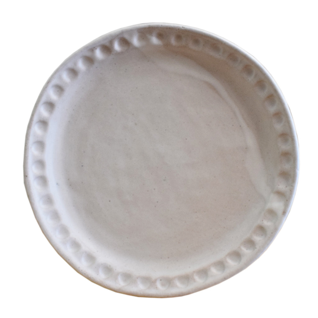 White Round Thumbprint Platter