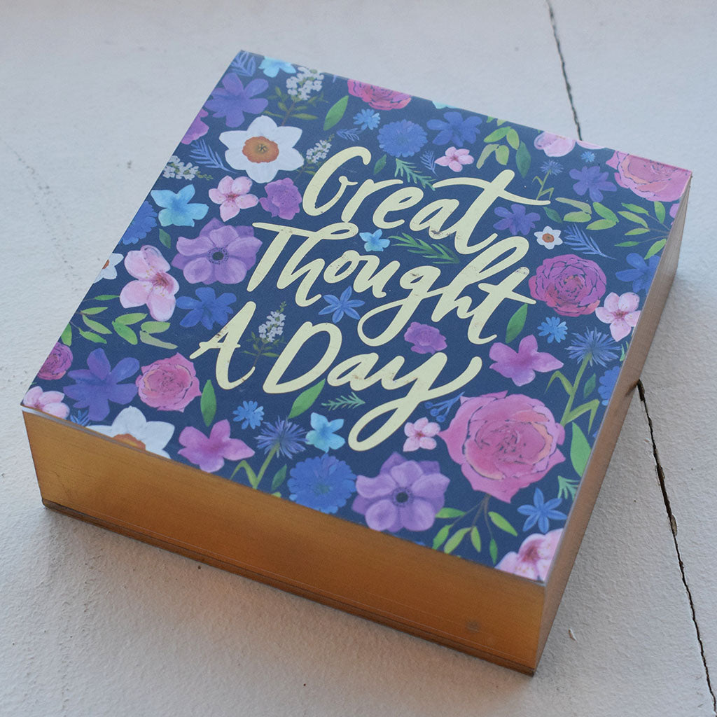 Thought A Day Deskpad-Navy Floral