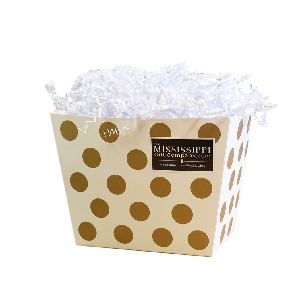 Unfilled Gold Dots Angled Box - TheMississippiGiftCompany.com