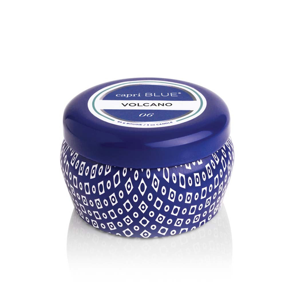 Mini Printed Travel Tin Volcano- Blue Tin