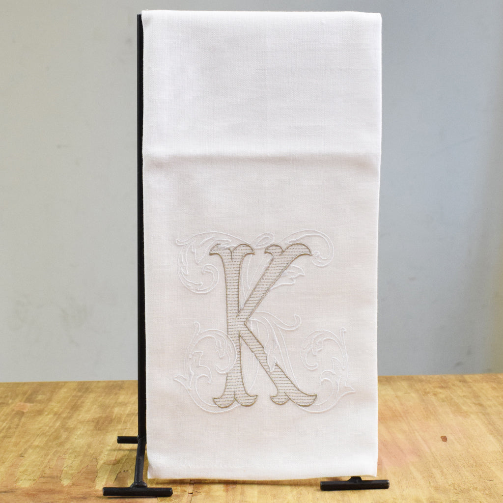 Khaki White Intial Hand Towel - TheMississippiGiftCompany.com