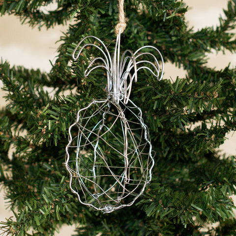 Wire Pineapple Ornament Silver - TheMississippiGiftCompany.com