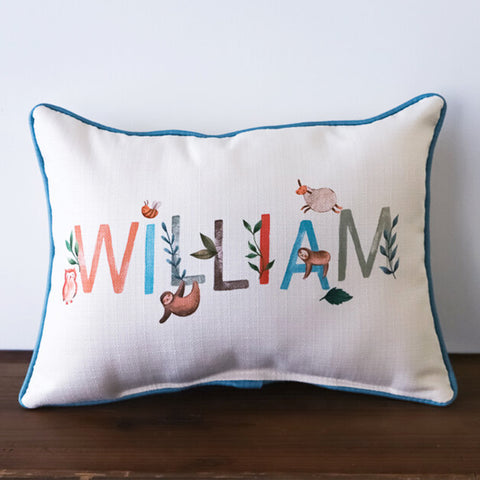Woodland Boy Name Rectangle Pillow - TheMississippiGiftCompany.com
