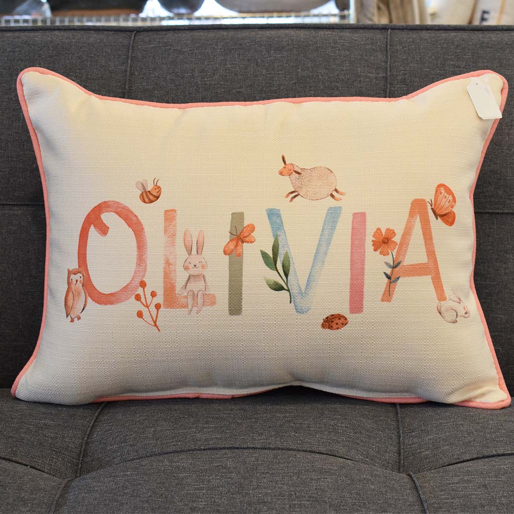 Woodland Girl Name Rectangle Pillow - TheMississippiGiftCompany.com