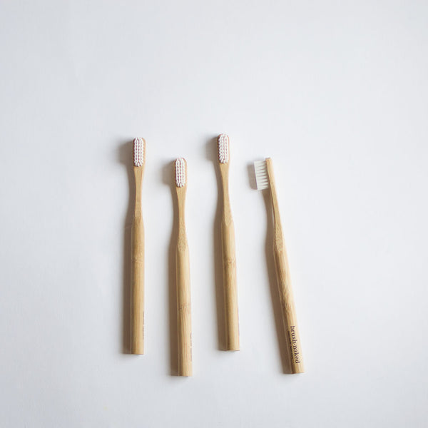 Compostable Bamboo Toothbrushes, Set of 4