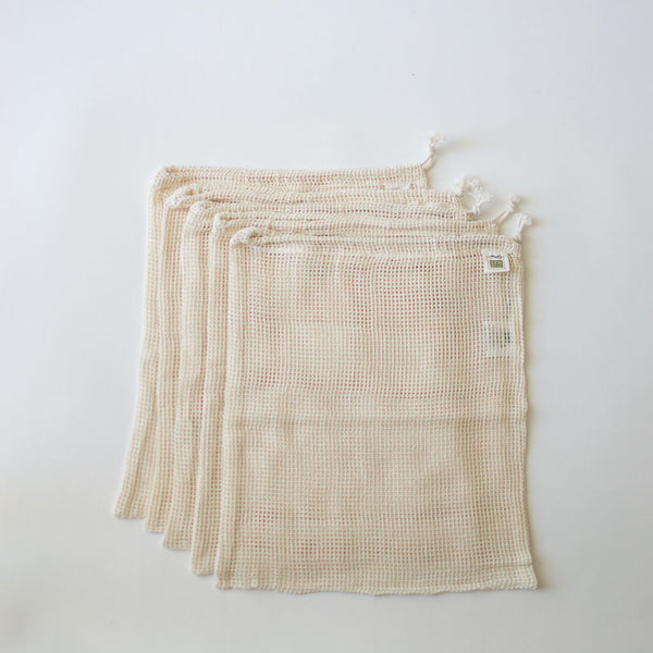 Cotton Mesh Produce Bags, Set of 5