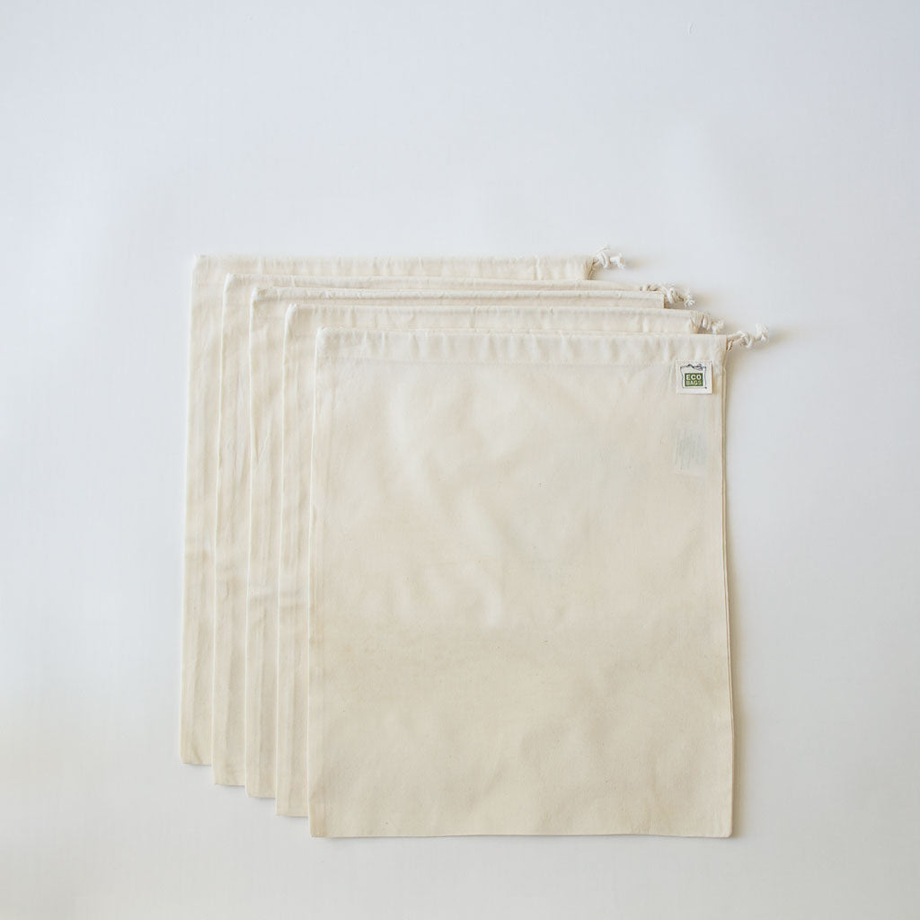 Cotton Muslin Produce Bags, Set of 5