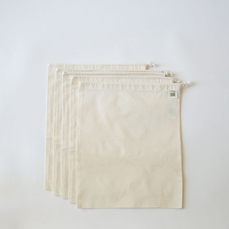 Organic Cotton Muslin Bags, Set of 5