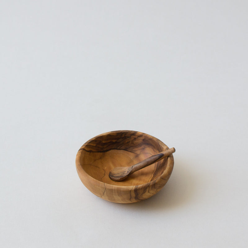 Olive Wood Salt Bowl & Spoon
