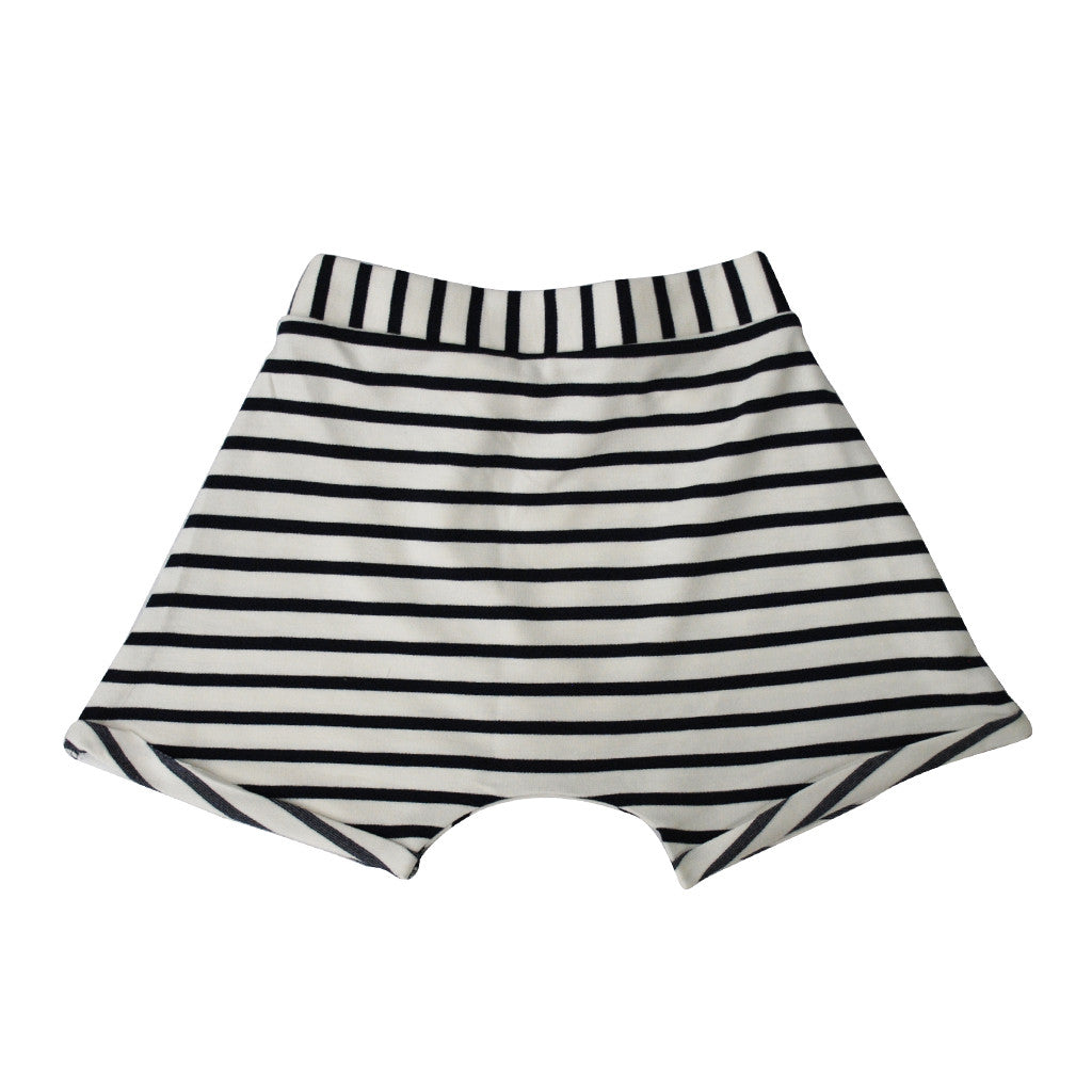 Fold Over Shorts with Cuff (Navy/Creme Nautical Stripe)