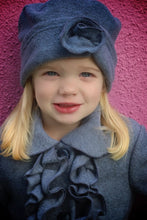 Charcoal Ruffle 3/4 Coat with Pill Box Hat