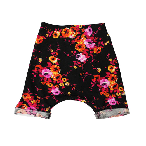 Shorts with Fold Over Cuff (Roses)