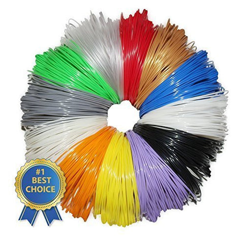 3D Pen Filament Refills - 12 Color Sample Pack - 20 Feet Per Color