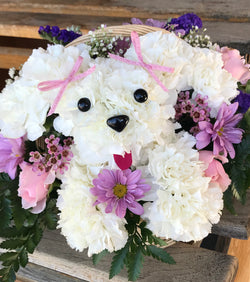 Dog puppy floral arrangement