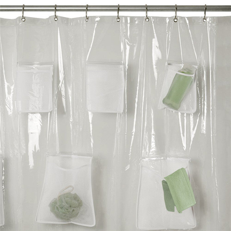 Pockets PEVA Shower Curtain Liner With 9 Mesh Storage Super Clear