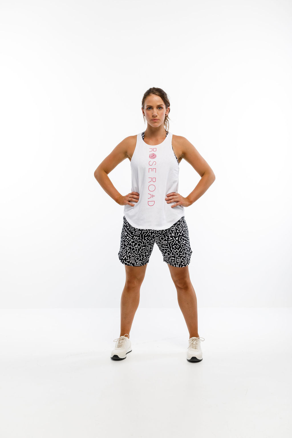 RACERBACK SINGLET - White with Pink Vertical Logo
