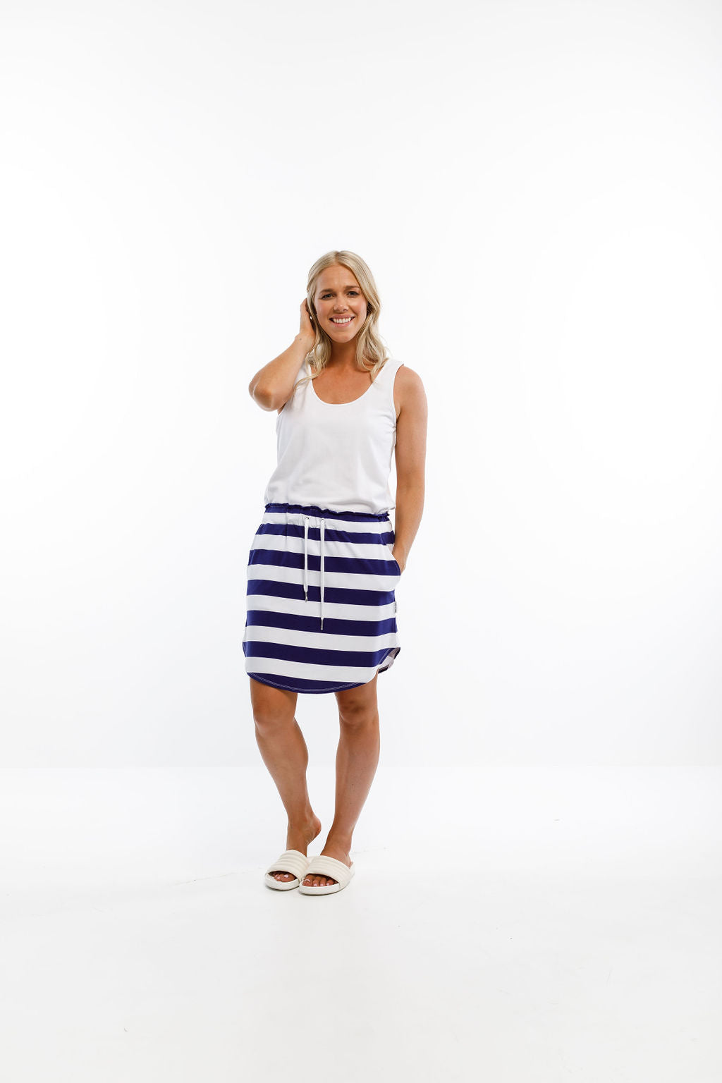 MINI SKIRT - Navy & White Stripes
