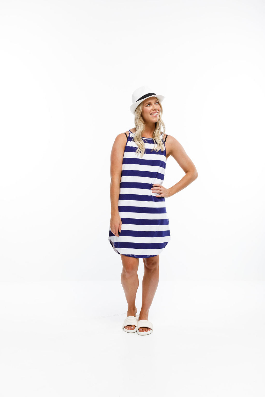 BEACH SLIP DRESS - Navy & White Stripes