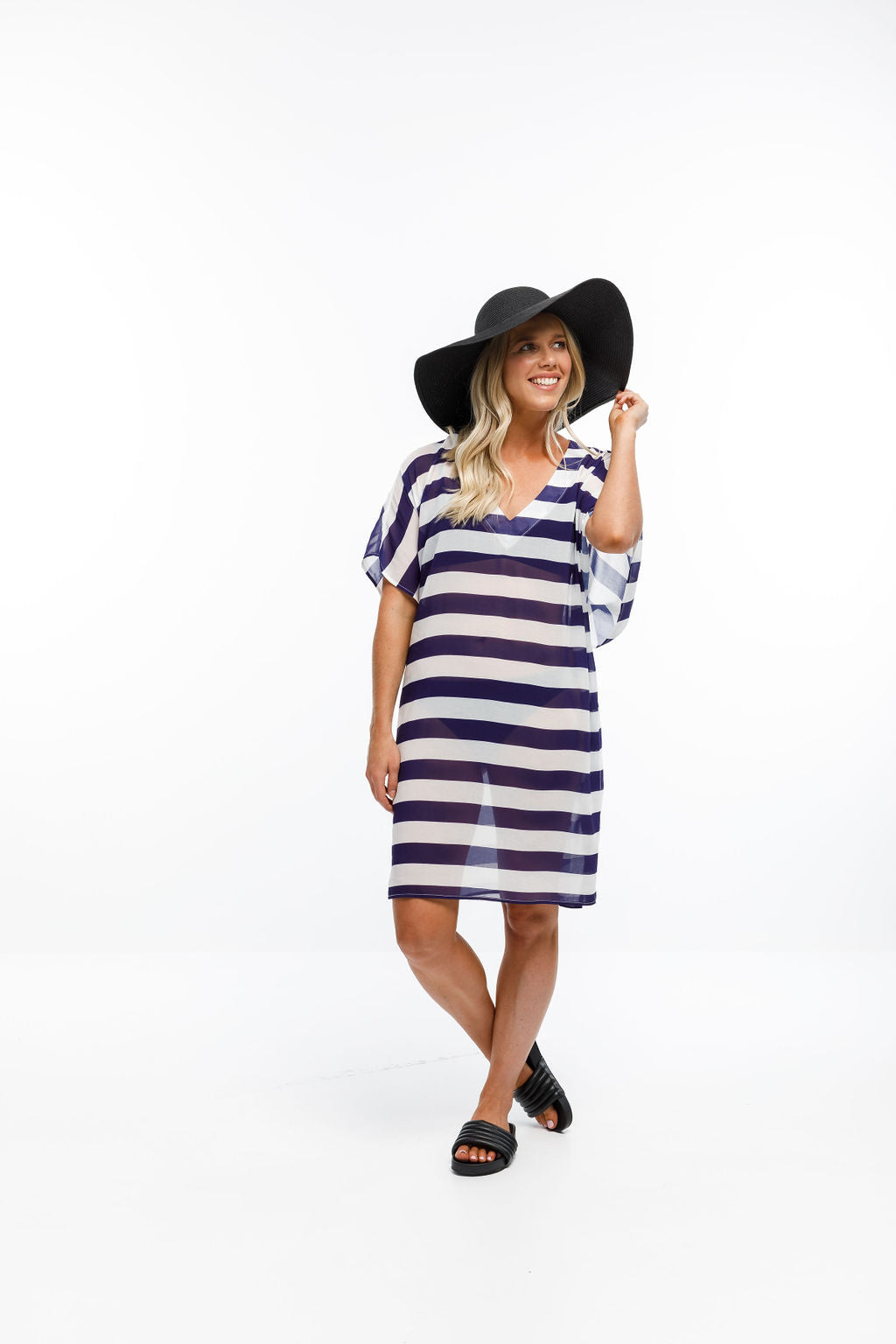 KAITERI KAFTAN - Navy & White Stripes