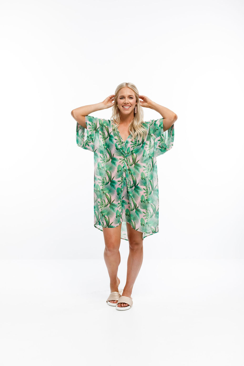 NGAIO DRESS - Tropical Palm Print (incl. slip)