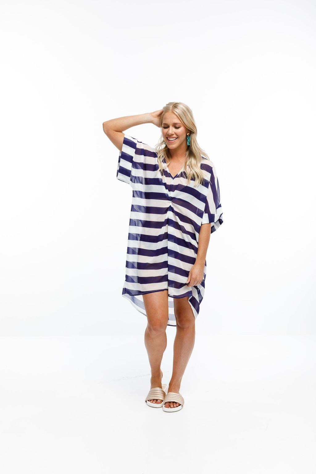 NGAIO DRESS - Navy & White Stripes (incl. slip)