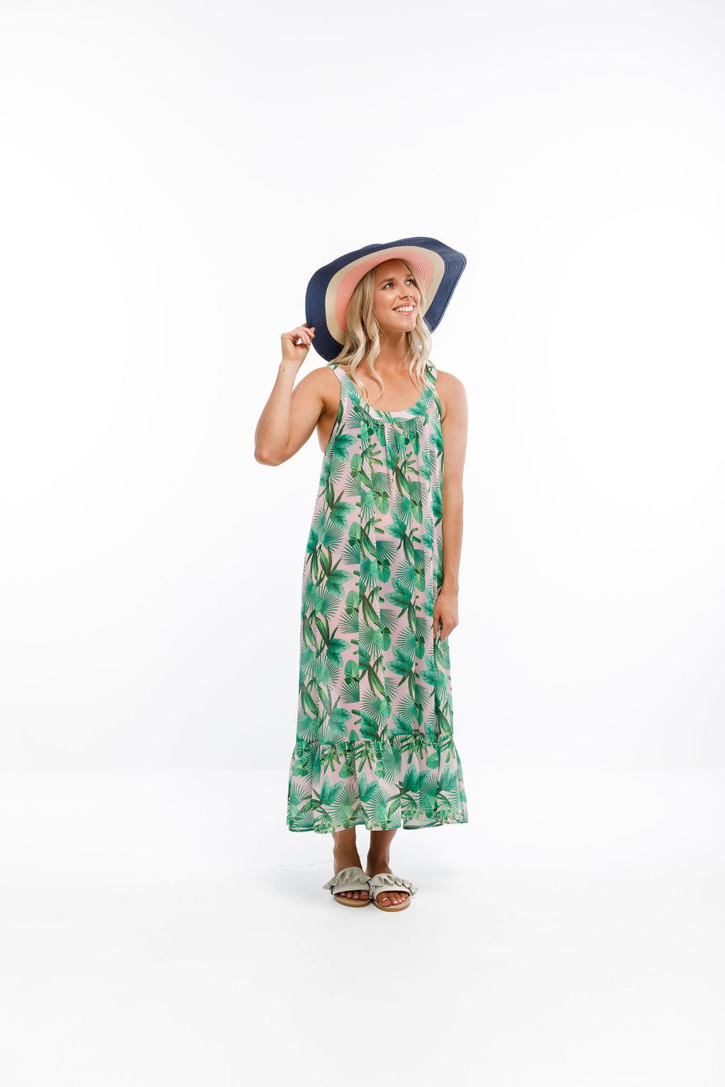 PIHA DRESS - Tropical Palm print (incl. slip)