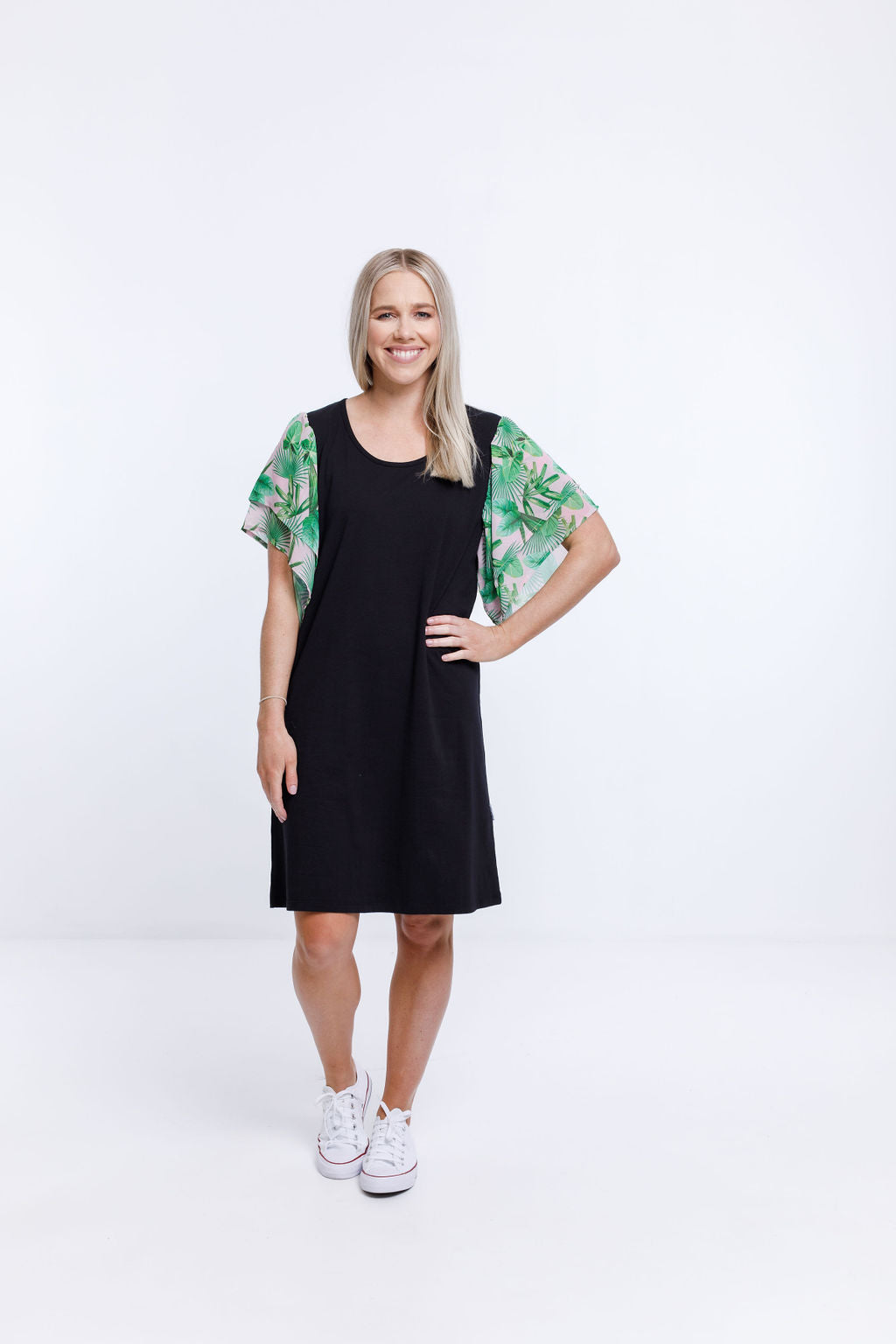 LOLA DRESS - Black with Tropical Palm Print