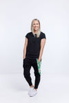 LOFT PANT - Black with Tropical Print Panel