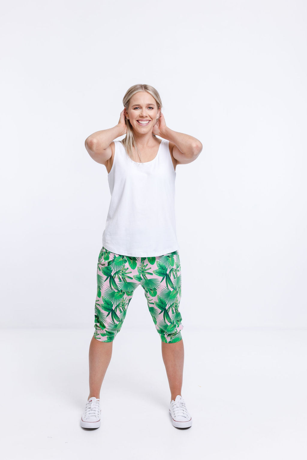 3/4 APARTMENT PANTS - Tropical Palm Print