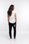 APARTMENT PANTS - Black with Pale Pink X