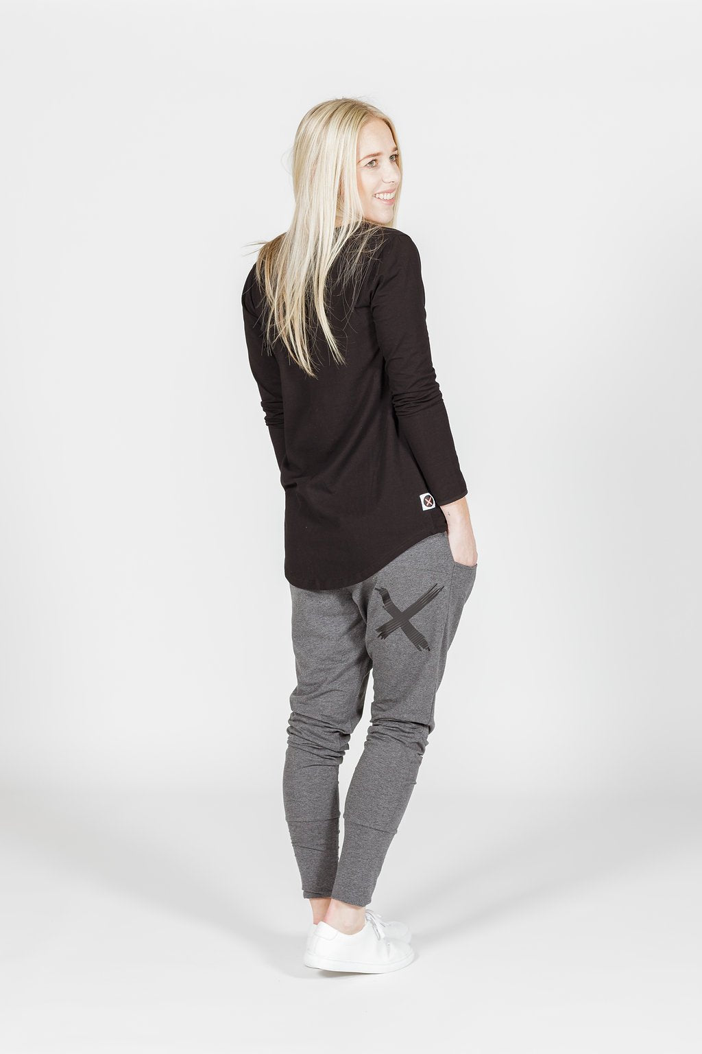 APARTMENT PANTS - Charcoal with Black X print