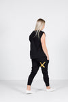 APARTMENT PANTS - Black with Gold X Print