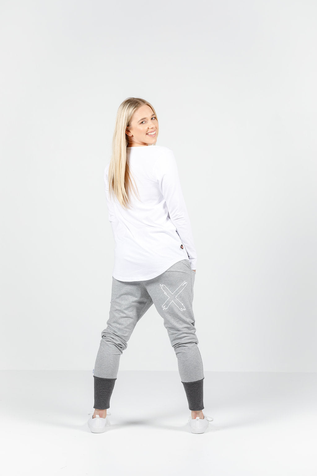 APARTMENT PANTS - WINTER - Grey with charcoal cuffs and X outline