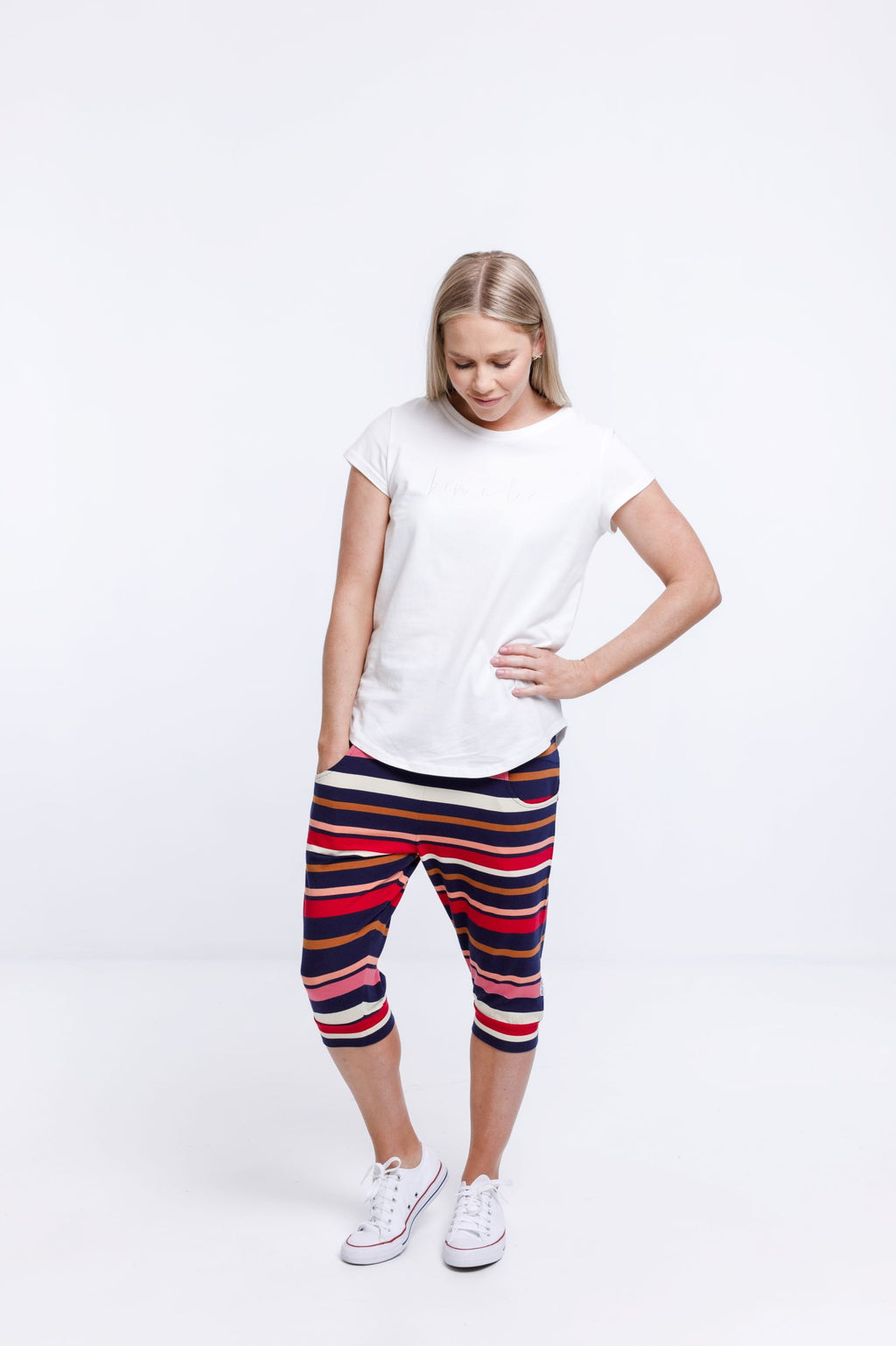 3/4 APARTMENT PANTS - Autumn Stripe Print