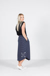 MIDI SKIRT - Navy & White Stripes with white X outline print
