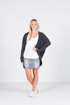 LONG SLEEVE KIMONO - Black with thin white stripes