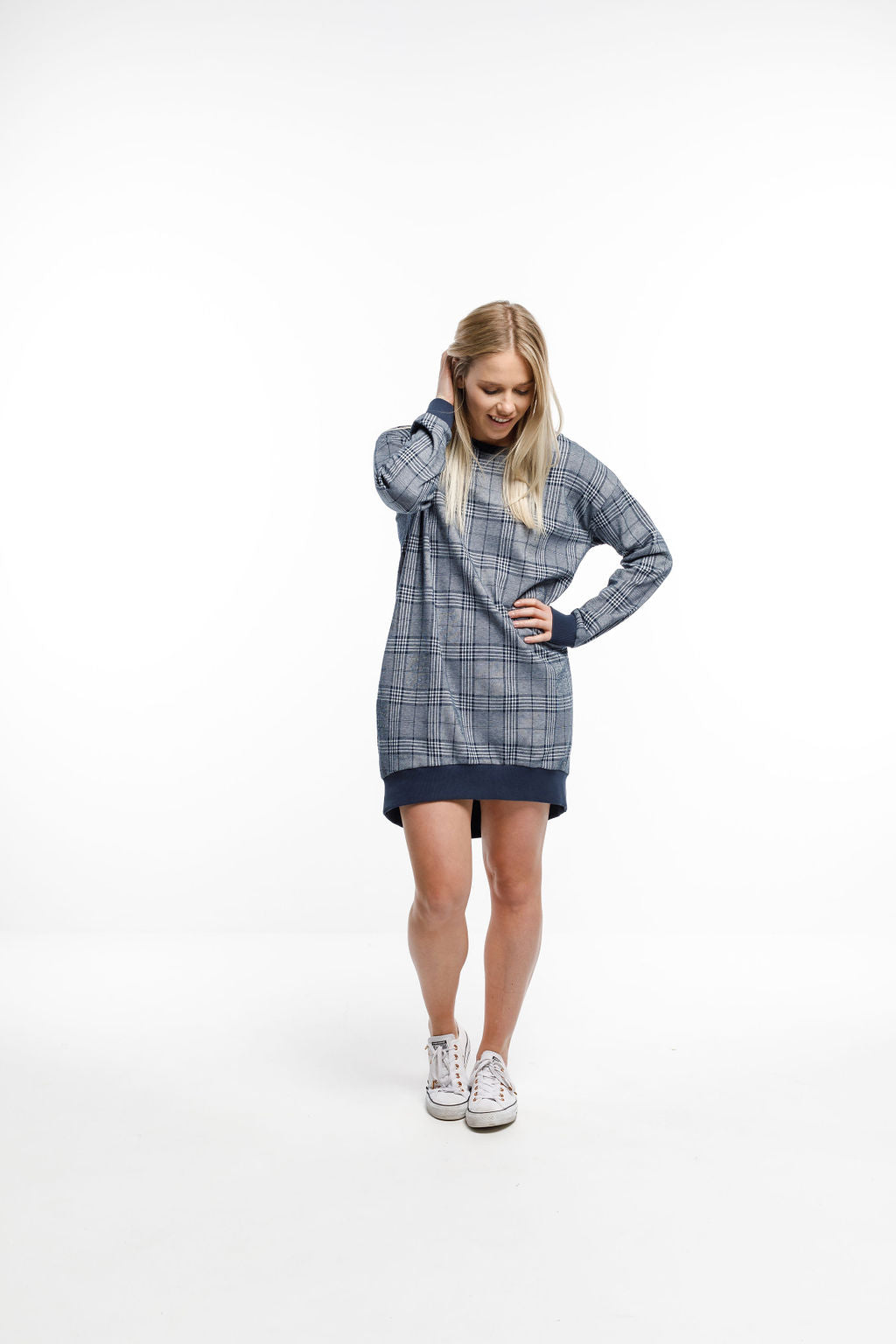 *COMFORT CLUB SPECIAL* POCKET SWEATER DRESS - Navy Plaid - 40% off