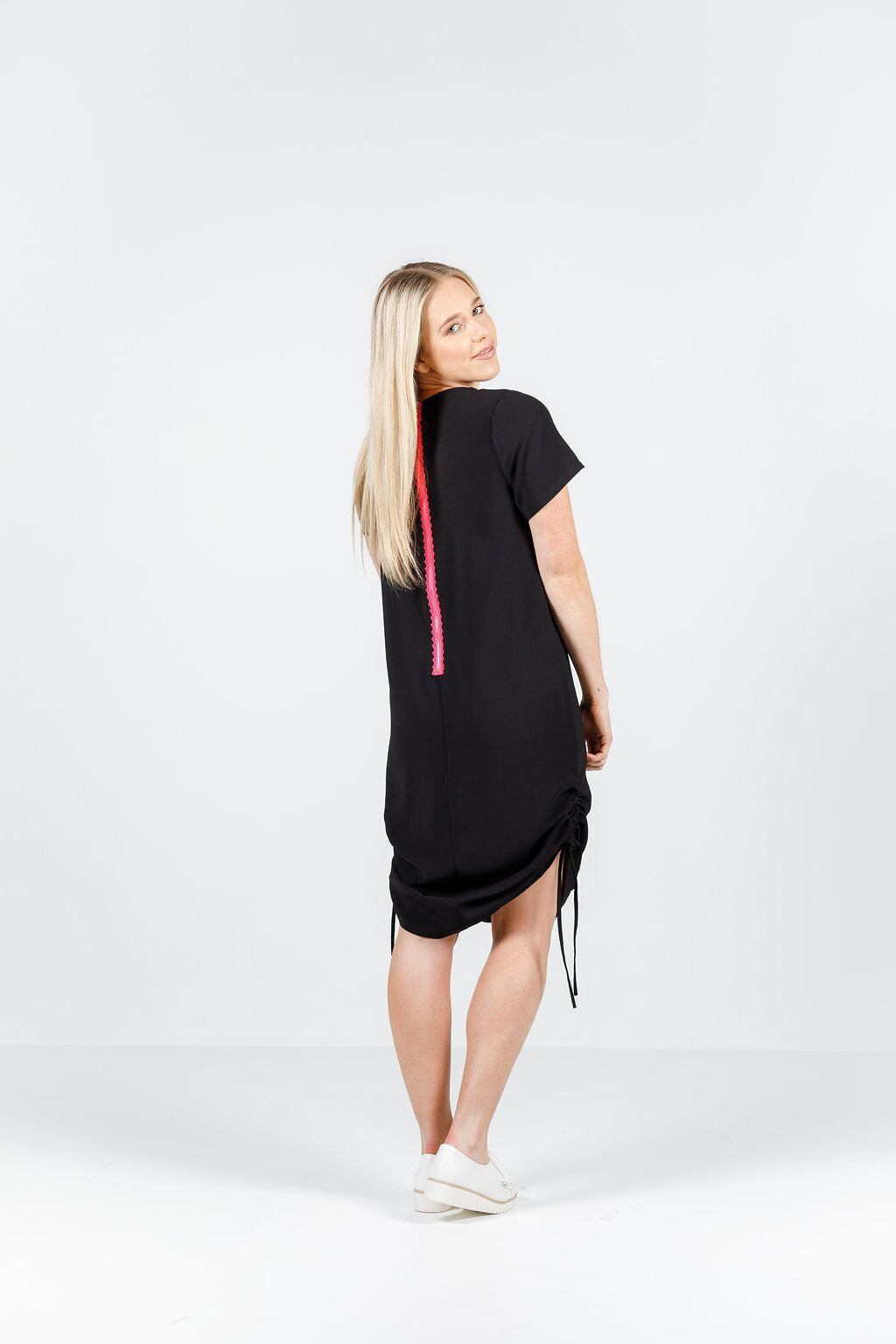 *SALE* RUCHED ZIP DRESS - Black with pink zipper