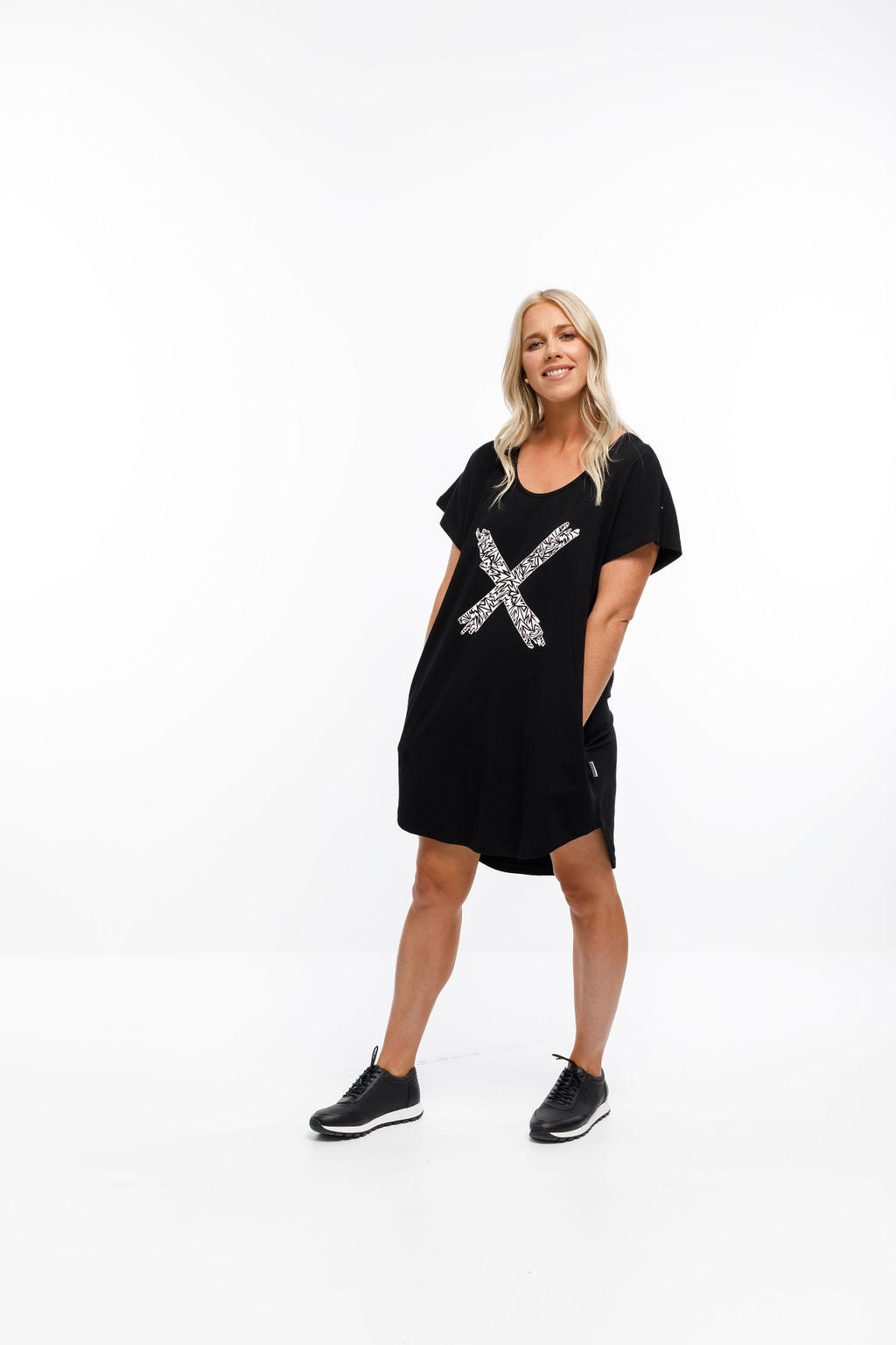 JACK DRESS - Black with Paper Plane X