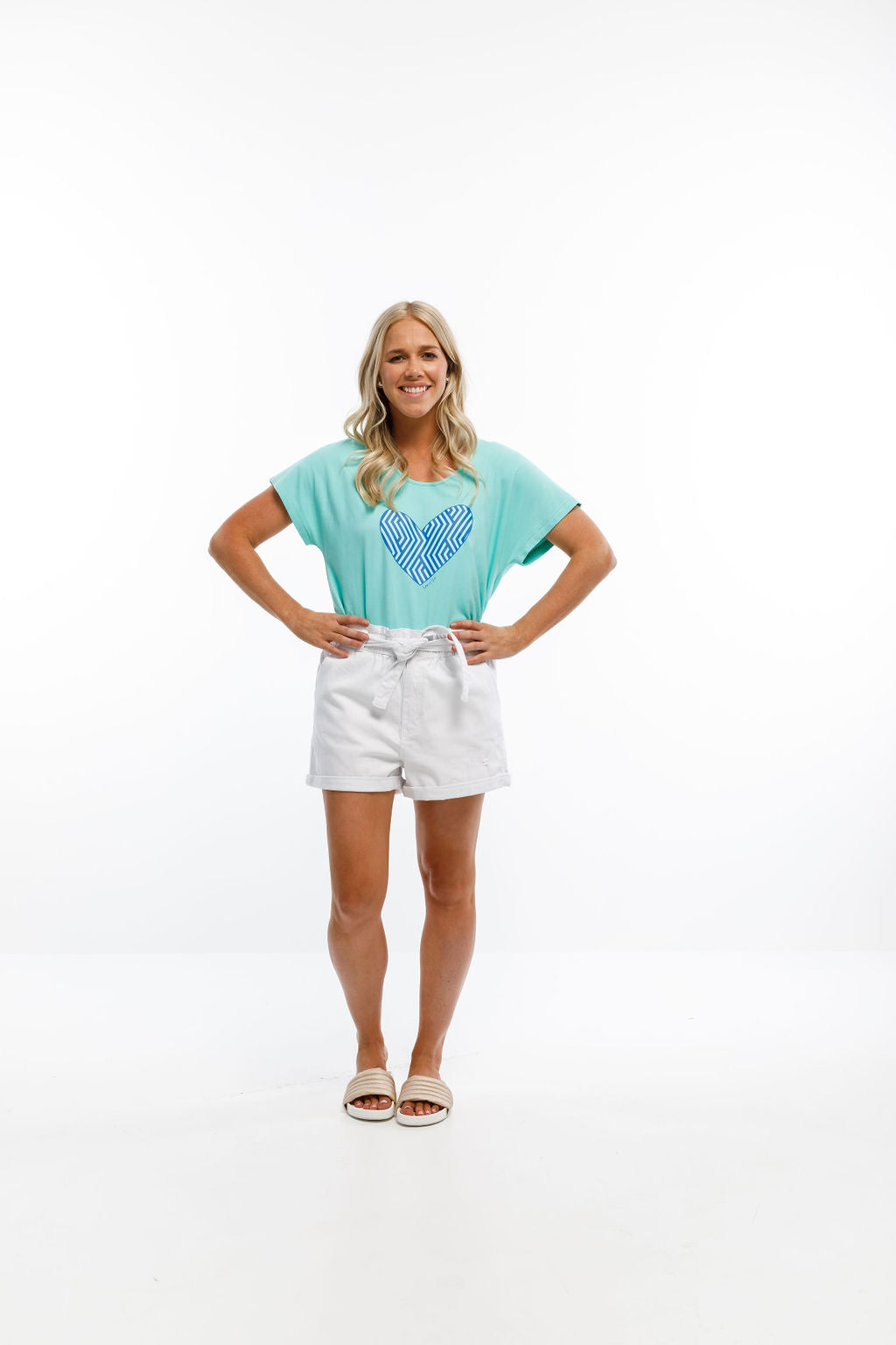JACK TEE - Mint Blue with Blue Carnival Heart Print