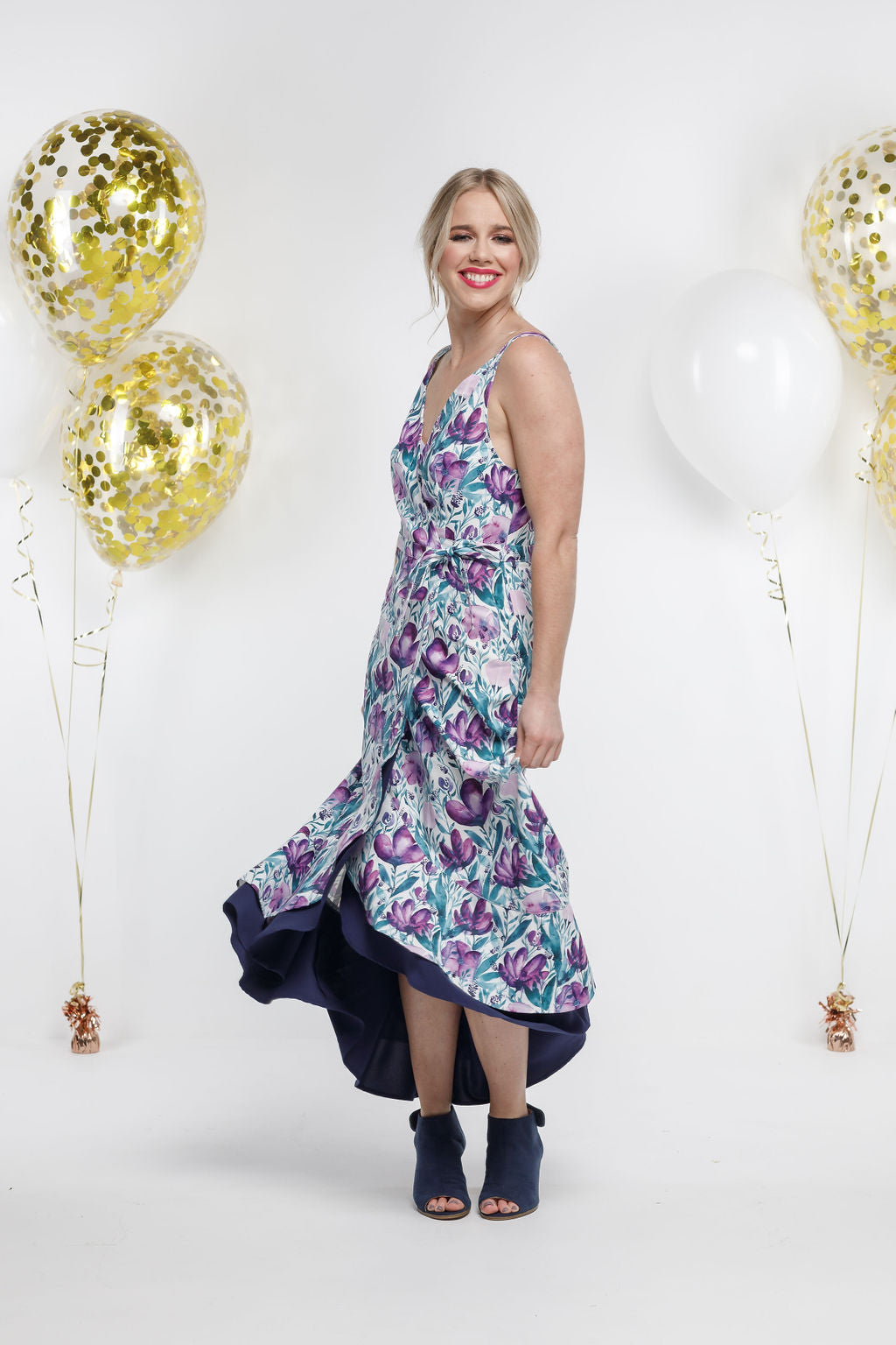 *SALE* Party - LONG WRAP DRESS - Violet Fusion