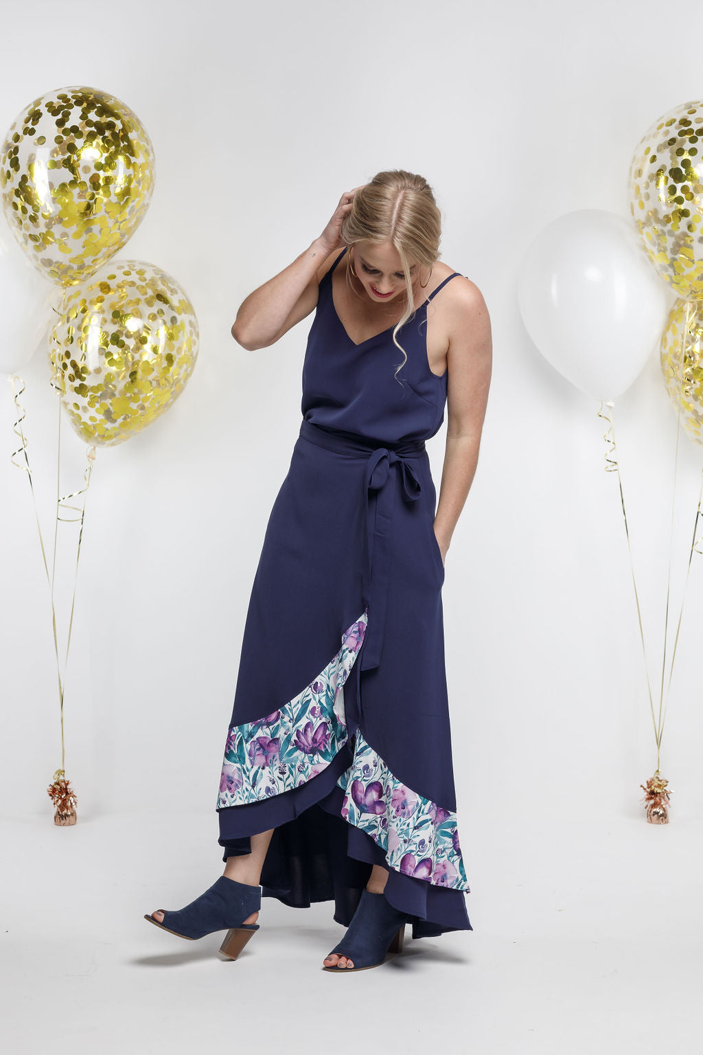 *SALE* Party - LONG WRAP SKIRT - Navy with Violet Fusion