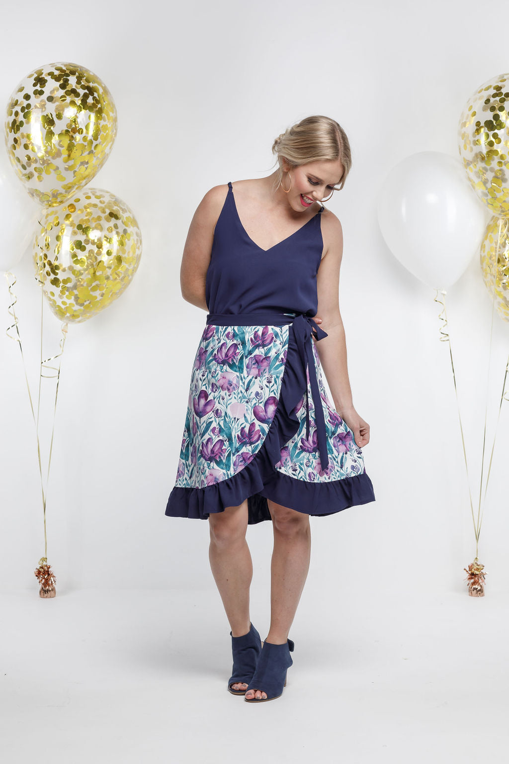 *SALE* Party - SHORT WRAP SKIRT - Violet Fusion