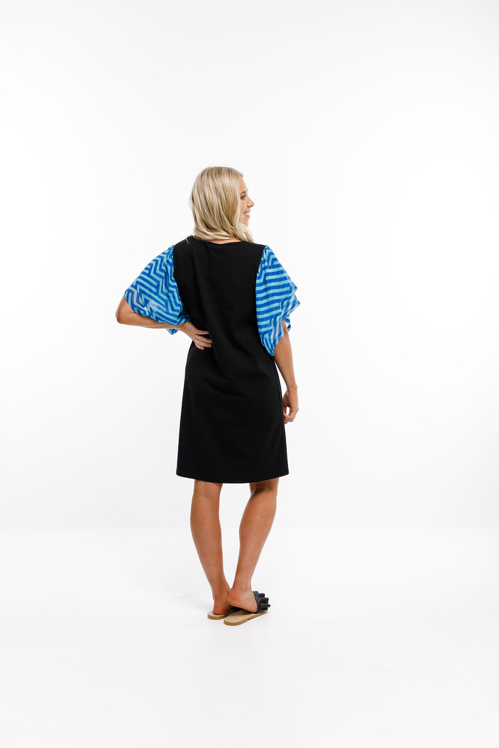 LOLA DRESS - Black with Blue Carnival Print Sleeves