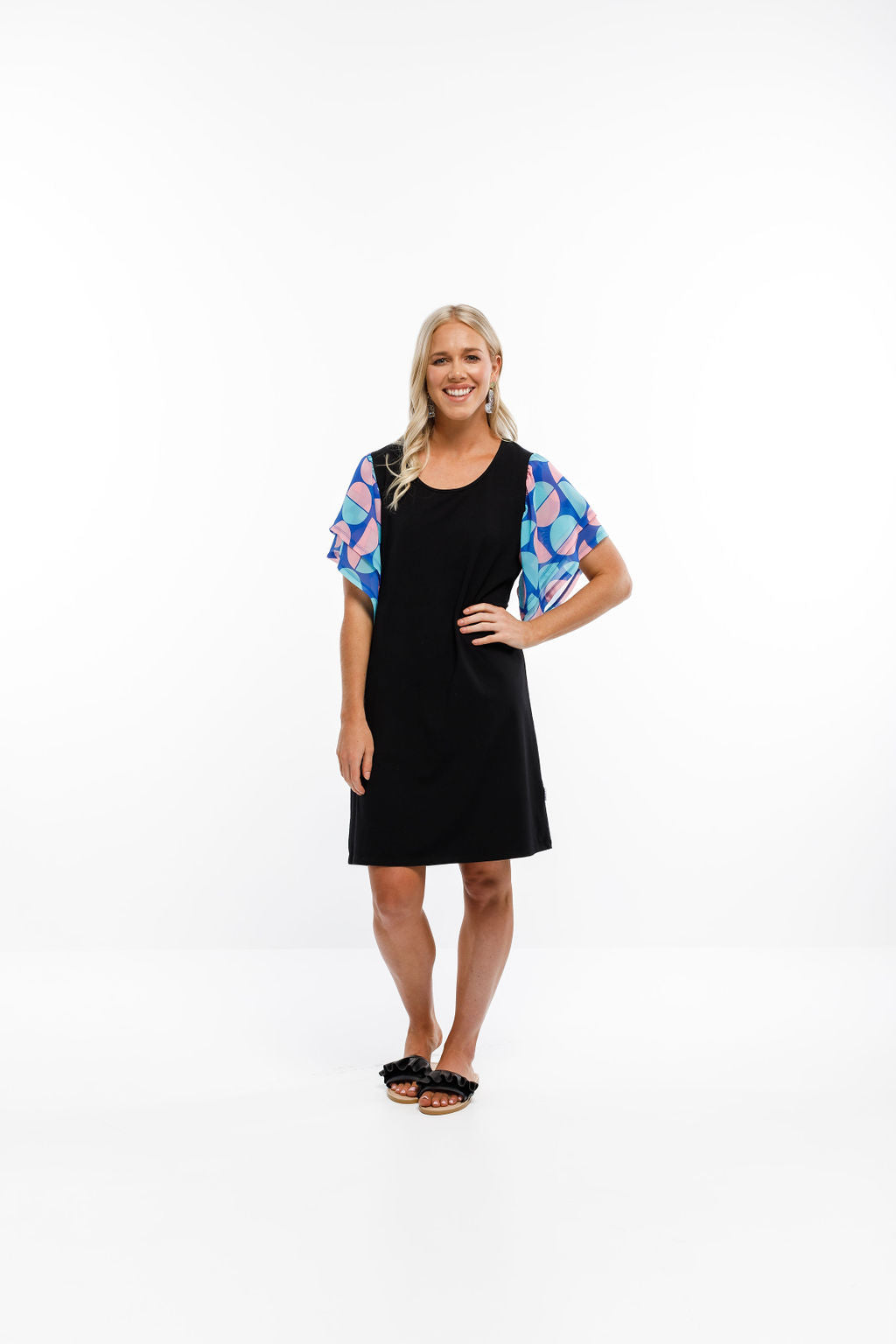 LOLA DRESS - Black with Summer Spot Print Sleeves