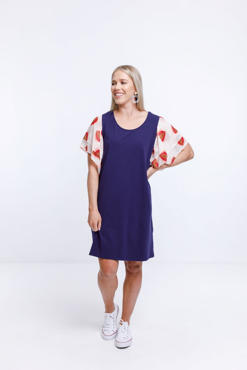 LOLA DRESS - Evening Blue with Lantern Print