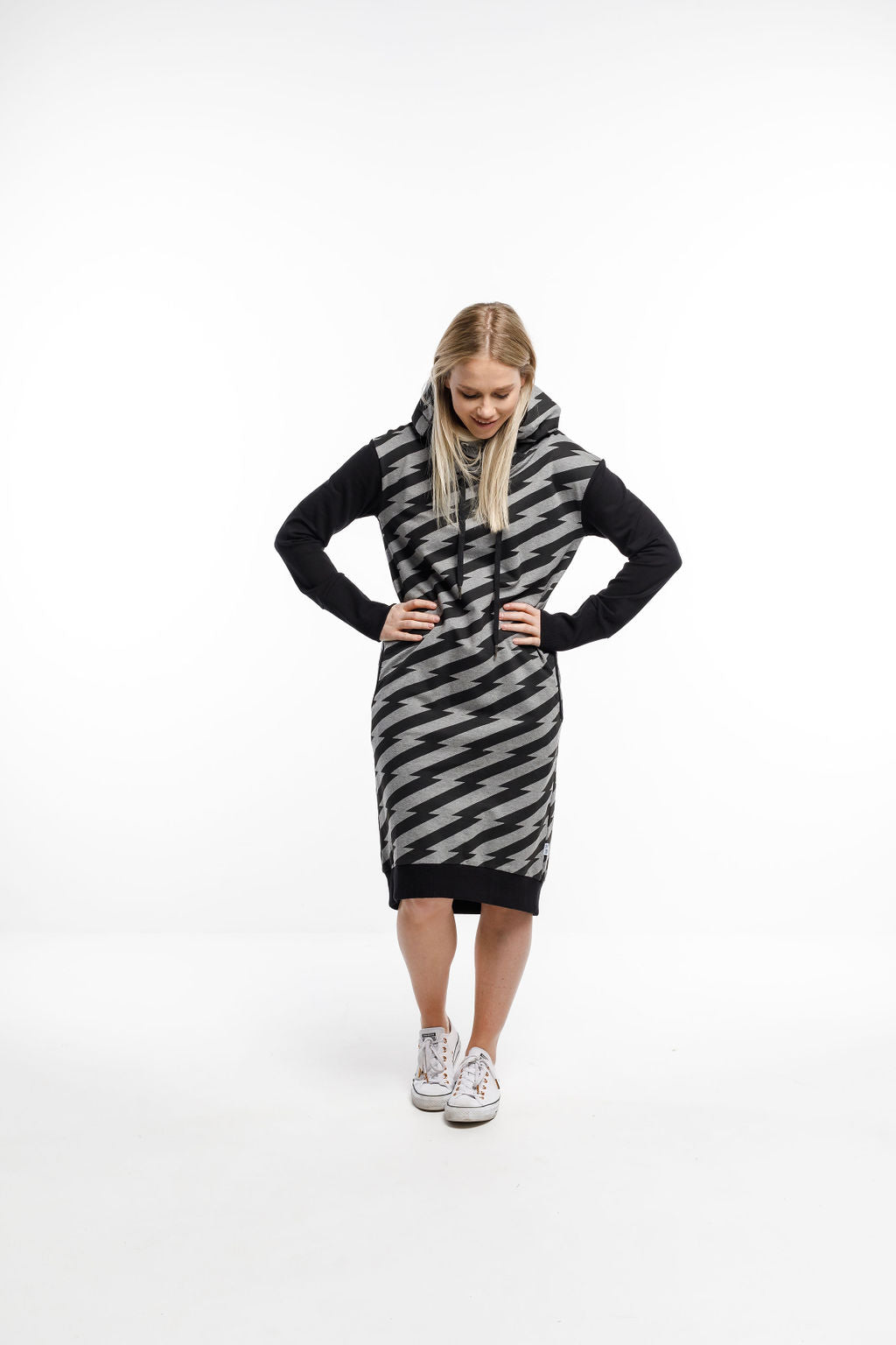 HOODED SWEATER DRESS - Lightning with Black sleeves